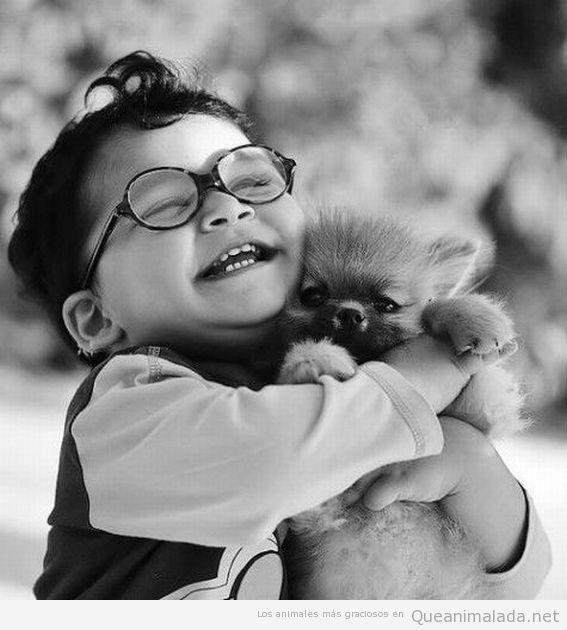 Niño muy feliz abrazando a perro pequeño gracioso