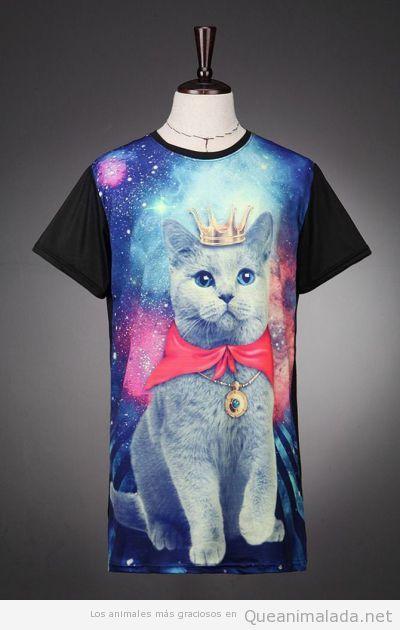 Camiseta de gato rey con capa