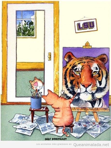 Gato dibujando un autorretrato como tigre