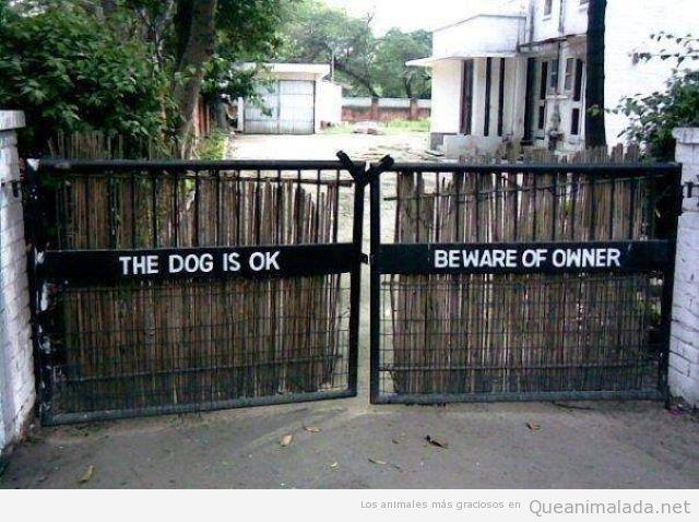 Foto divertida de la valla de una casa, el perro esta bien, cuidado con el amo