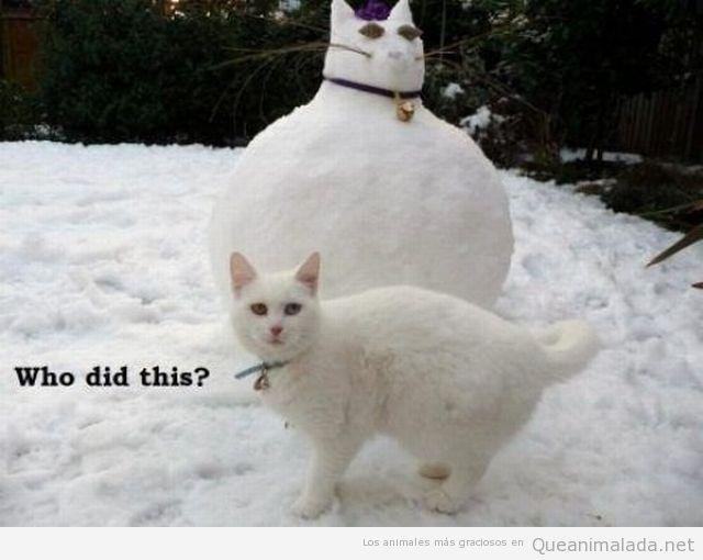 Imagen chistosa de un gato gordo como muñeco de  nieve
