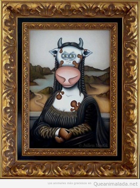 Ilustración graciosa de La Mona Lisa en vaca