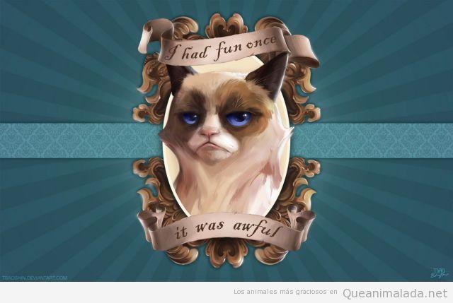 Meme del grumpy cat o gato gruñón
