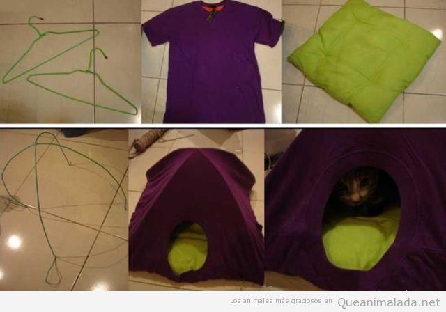 Tutorial para hacer una caseta de gato con camiseta y alambres