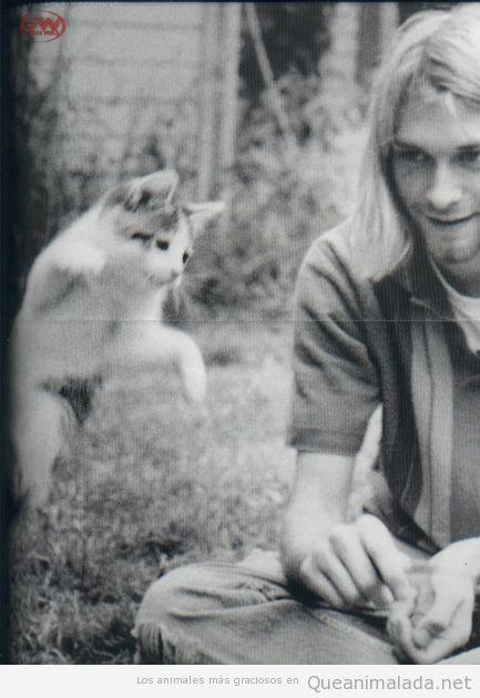 Foto de Kurt Kobain con su gato