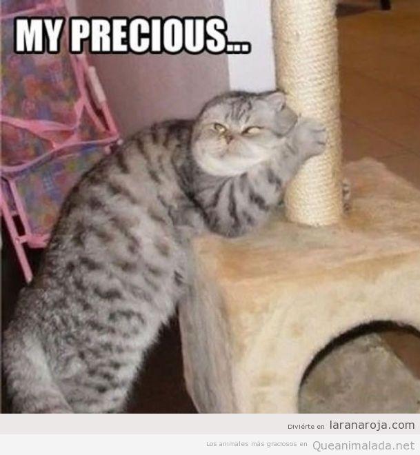 Imagen chistosa de un gato como Gollum en su rascador