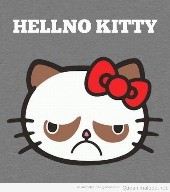 Dibujo gracioso, Grumpy Cat como Hello Kitty