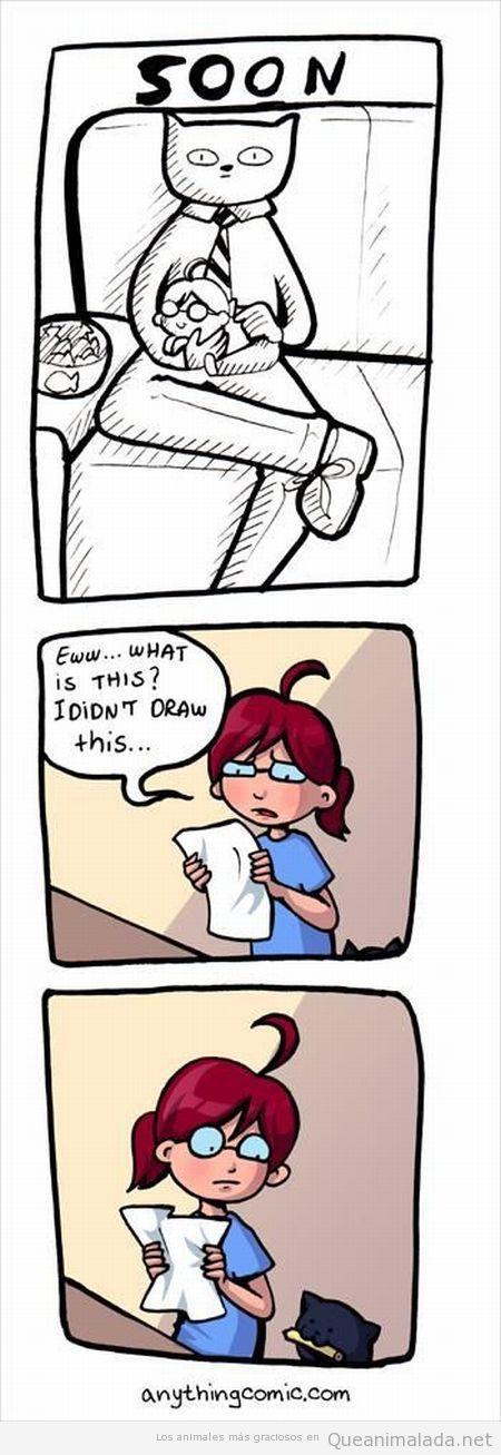 Viñeta graciosa de un gato que dibuja comics