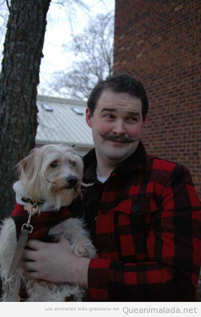 Foto chistosa de un hombre y un perro con bigote