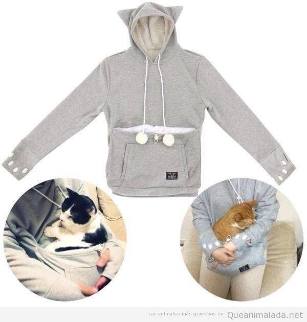 Sudadera con bolsillo para gatos