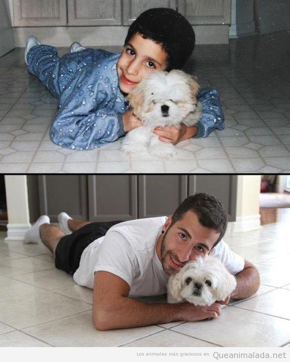 Foto preciosa de un niño con su perro, la foto se repite 10 años después