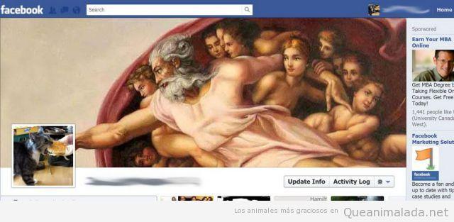 Foto de perfil en Facebook de un perro con el cuadro Creación del Hombre Miguel Angel