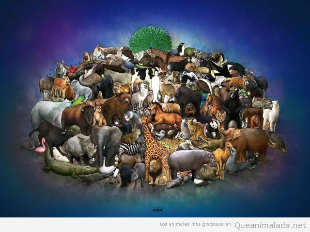 dibujo bonito de muchos animales en el Arca de Noe
