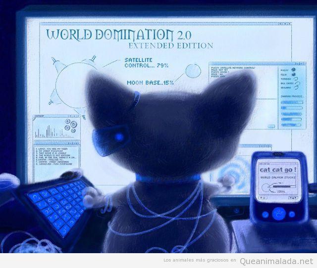 Dibujo gracioso de un gato dominando el mundo por ordenador