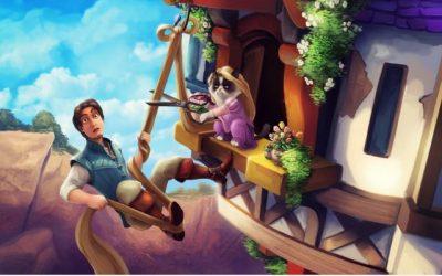 El grumpy cat como princesa Rapunzel, qué grande
