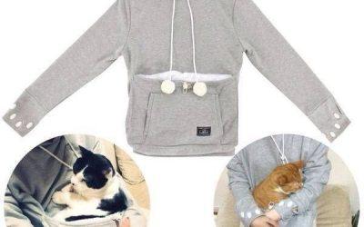 Sudadera con un super bolsillo para meter a tu gato