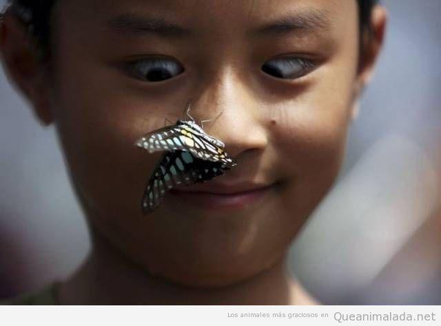La cara de cuando se te posa una mariposa en la nariz…