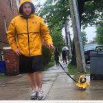 Hombre y perro con el mismo chubasquero amarillo bajo la lluvia... puro amor