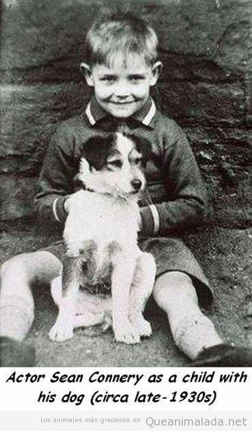 Sean Connery de niño con su perro