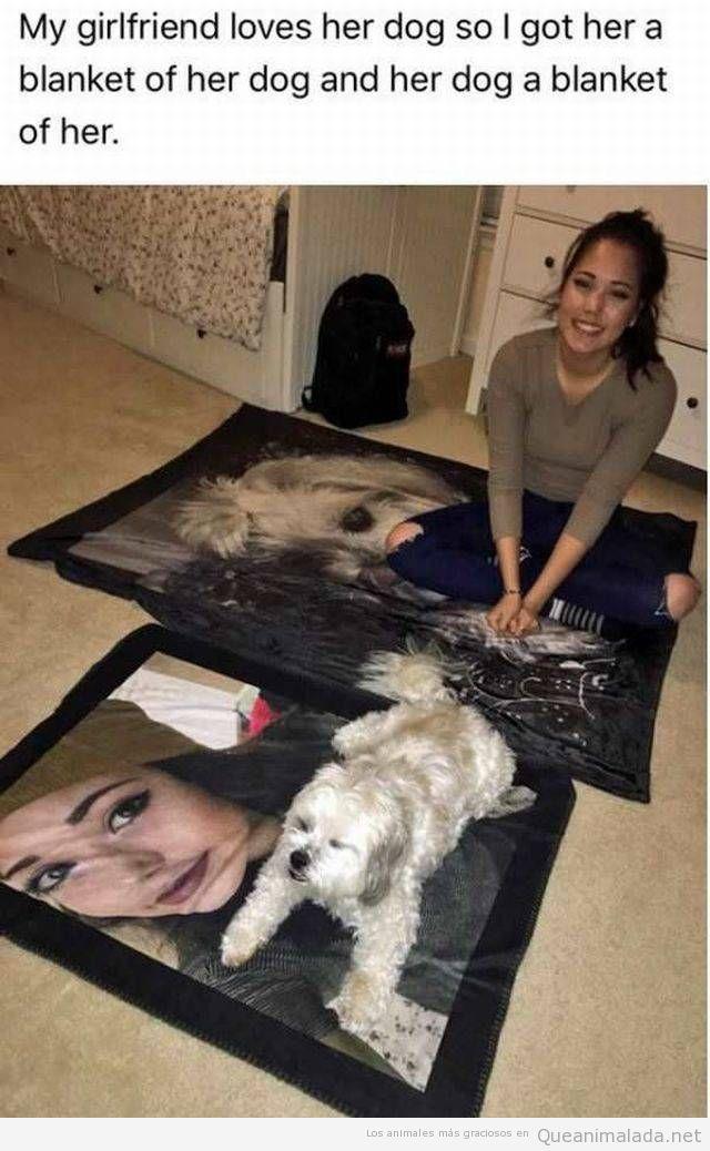Foto graciosa chica y su perro con una manta