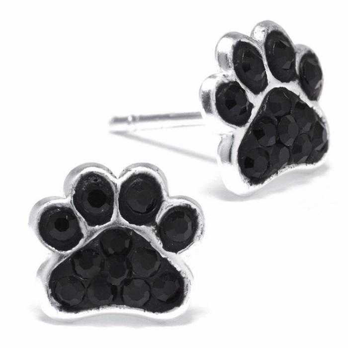 Pendientes huella perro negro